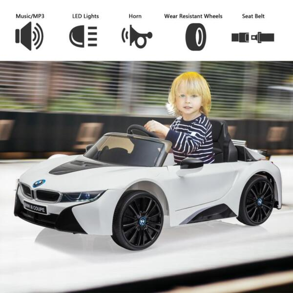 BMW Licensed i8 12V Kids Ride on Car, White bmw licensed i8 12v kids ride on car white 24