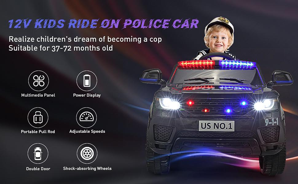 12V Kids Ride On Police Car, Black c1c26248 7170 4f4e 96f7 04964f1117d6. CR00970600 PT0 SX970 V1
