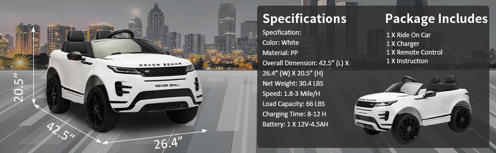 12V Land Rover Ride-on SUV Car for Kids, White c8b0003f d777 4258 ae08 bb34680dc4ad. CR00970300 PT0 SX970 V1