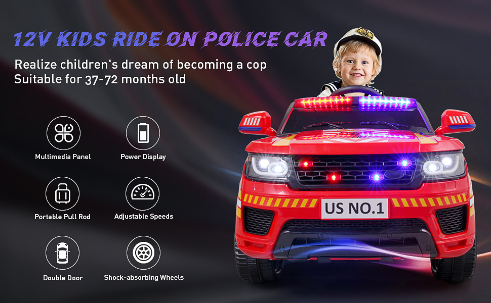 12V Kid's Electric Police Car Ride on, Red d56e9c8d 824a 46a2 be7c a801f8854049. CR00970600 PT0 SX970 V1