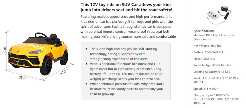 12V Lamborghini Licensed Electric Kids Ride on Car with Remote Control, Yellow dsasdas