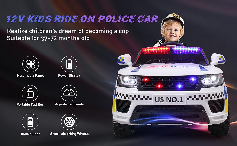 12V Kid Ride on Police Car, White eea36cda f1d3 4893 9634 17ccce34da4a. CR00970600 PT0 SX970 V1