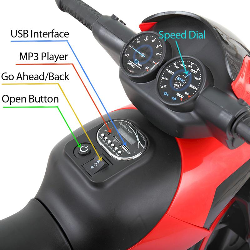 6V Electric Motorcycle Tricycle W/ 3 Wheel electric motorcycle tricycle battery operated red 10 1