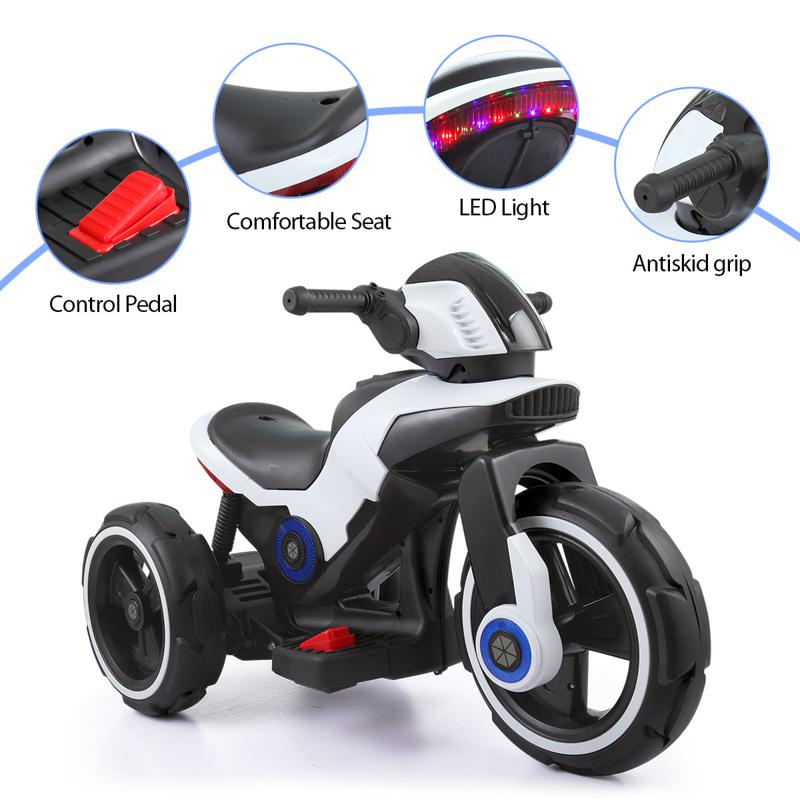 White Electric Motorcycle Tricycle for Toddlers electric motorcycle tricycle battery operated white 12 1