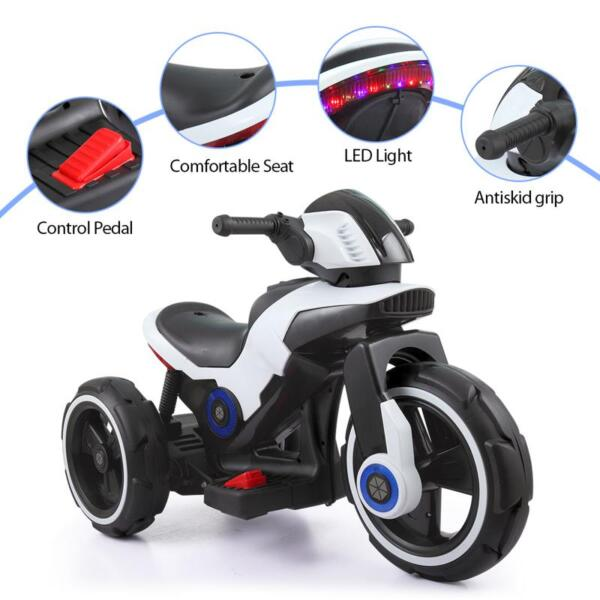 White Electric Motorcycle Tricycle for Toddlers electric motorcycle tricycle battery operated white 12