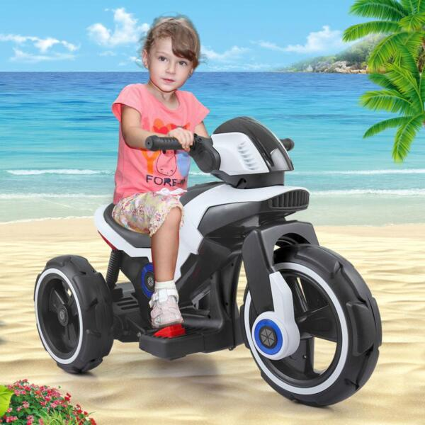 White Electric Motorcycle Tricycle for Toddlers electric motorcycle tricycle battery operated white 15