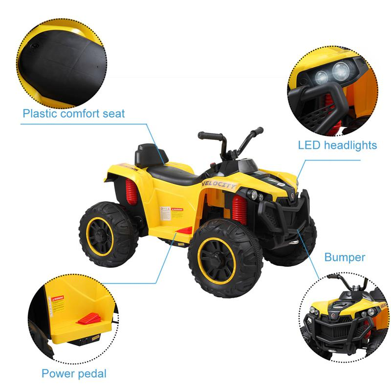 Battery Powered Ride On Kids ATV With Remote, Yellow electric ride on atv with 4 wheel white 10 2