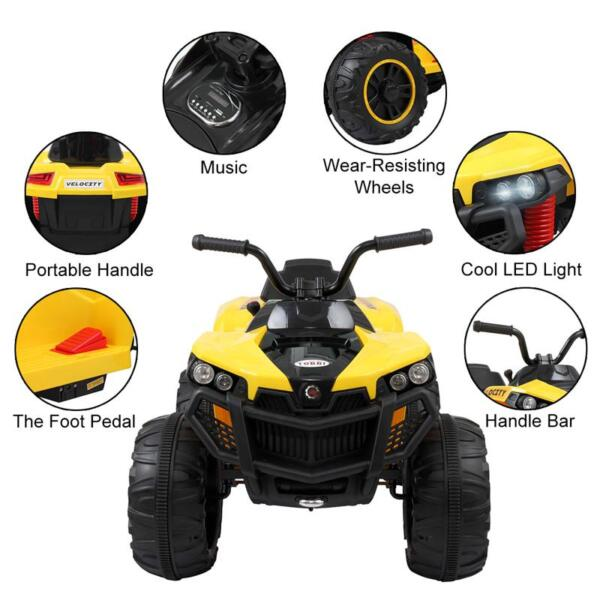Electric Ride On ATV with 4 Wheel, Yellow electric ride on atv with 4 wheel white 8
