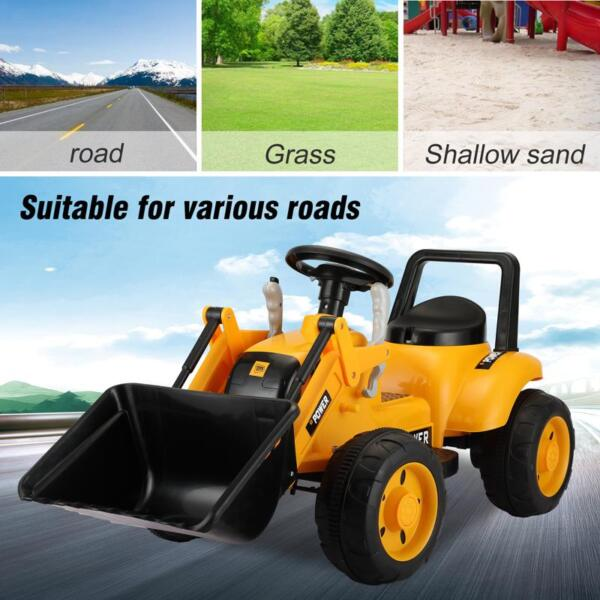 6V Kids Electric Tractor Car with Horn for Kids 3-8 years, Yellow excavator ride tractor for kids pink 12