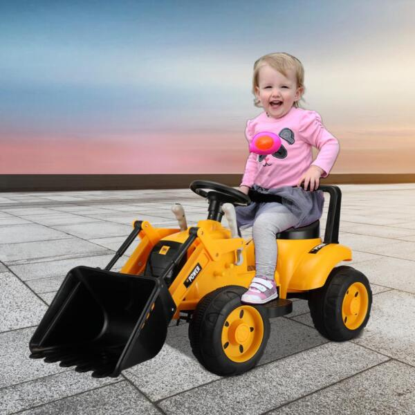 6V Kids Electric Tractor Car with Horn for Kids 3-8 years, Yellow excavator ride tractor for kids pink 15