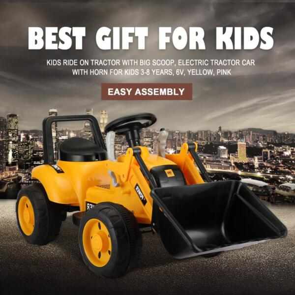6V Kids Electric Tractor Car with Horn for Kids 3-8 years, Yellow excavator ride tractor for kids pink 19