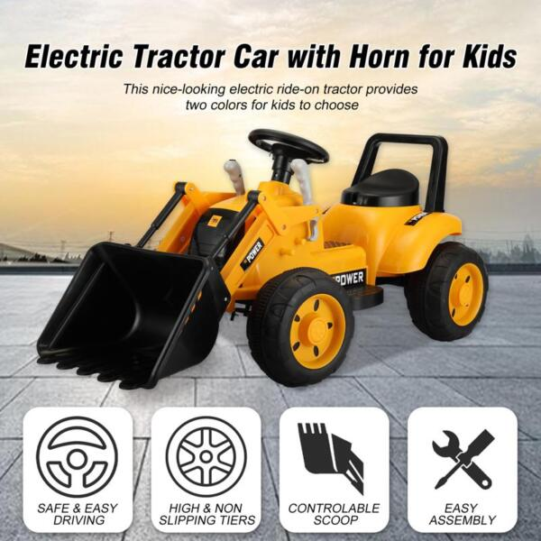 6V Kids Electric Tractor Car with Horn for Kids 3-8 years, Yellow excavator ride tractor for kids pink 20