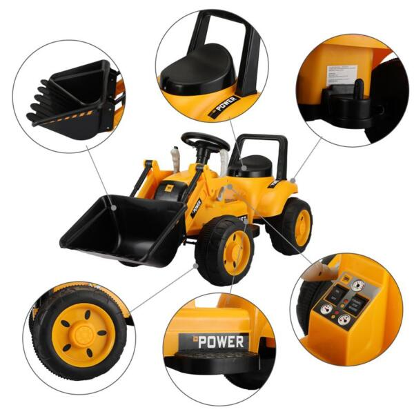 6V Kids Electric Tractor Car with Horn for Kids 3-8 years, Yellow excavator ride tractor for kids pink 34