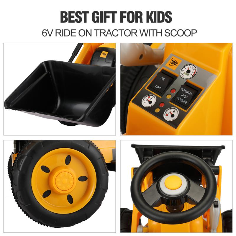 6V Kids Electric Tractor Car with Horn for Kids 3-8 years, Yellow excavator ride tractor for kids pink 35 1
