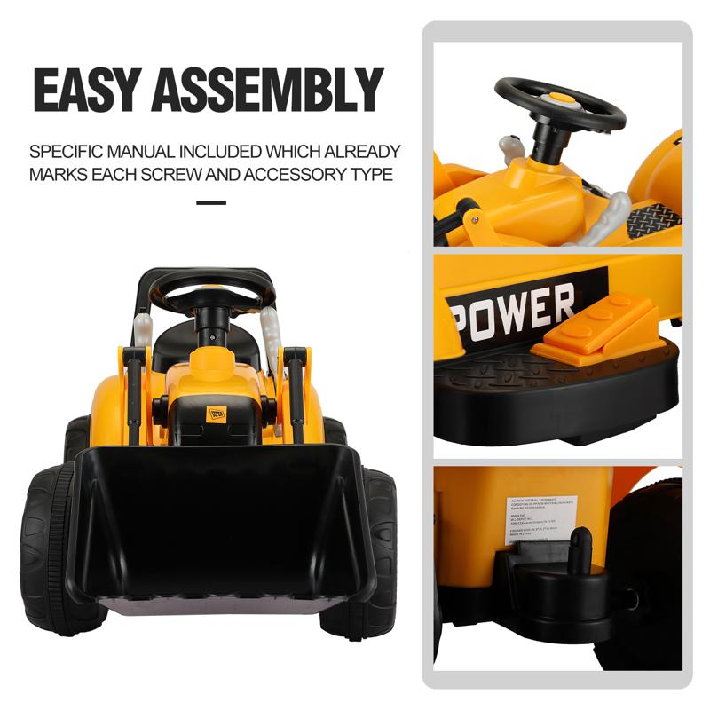 6V Kids Electric Tractor Car with Horn for Kids 3-8 years, Yellow excavator ride tractor for kids pink 38 1
