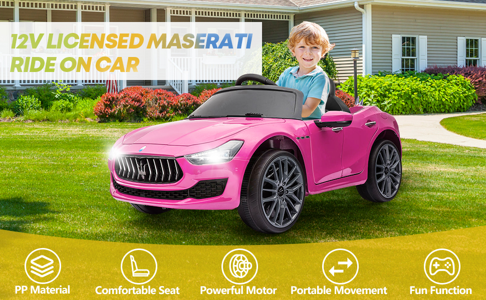 12V Maserati Licensed Kids Ride On Car with Remote Control, Pink ia 100000039