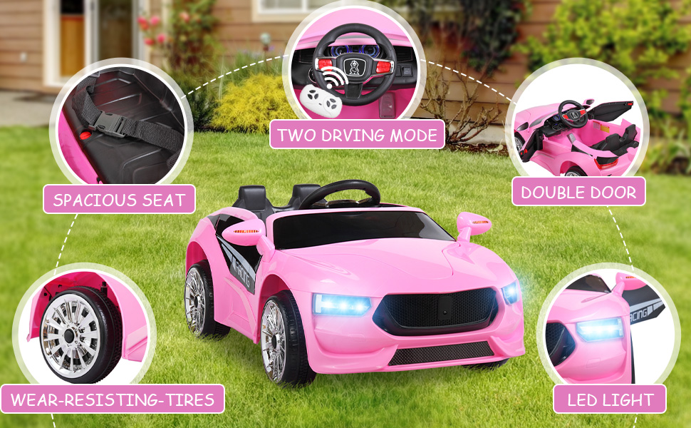 6V Kids Electric Ride On Racing Car with Remote Control, Pink ia 1400000038