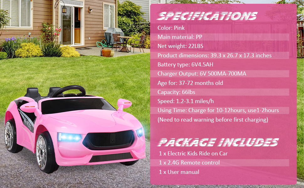 6V Kids Electric Ride On Racing Car with Remote Control, Pink ia 1400000040