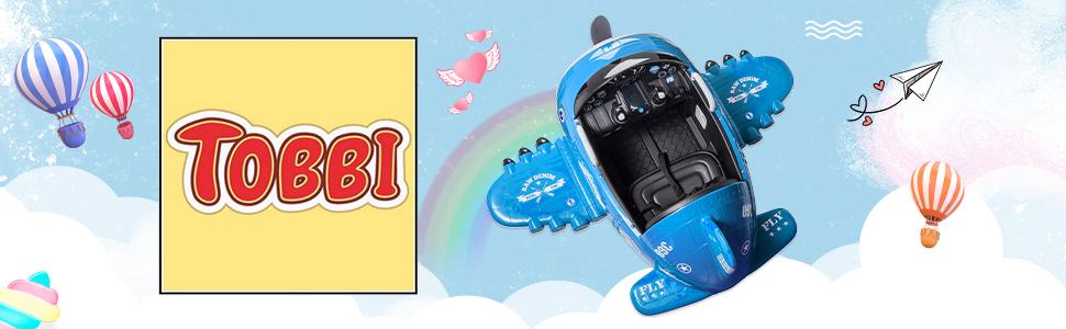 12V Kids Electric Toy Plane Car, Blue ia 1700000034