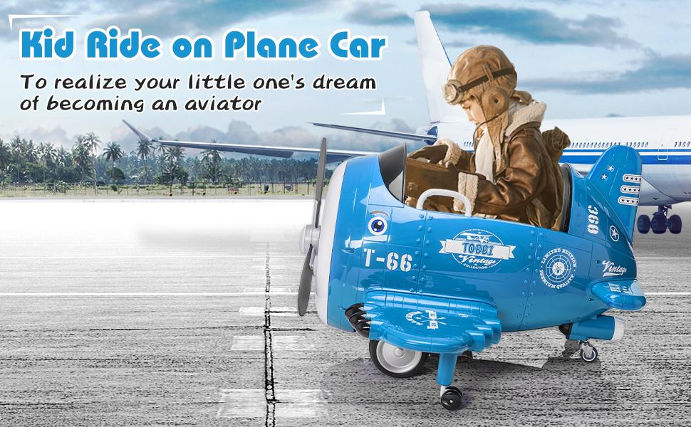 12V Kids Electric Toy Plane Car, Blue ia 1700000035