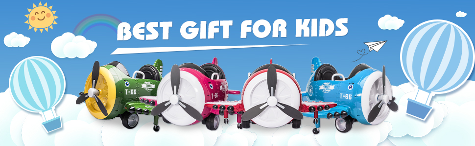 12V Kids Electric Toy Plane Car, Blue ia 1700000042