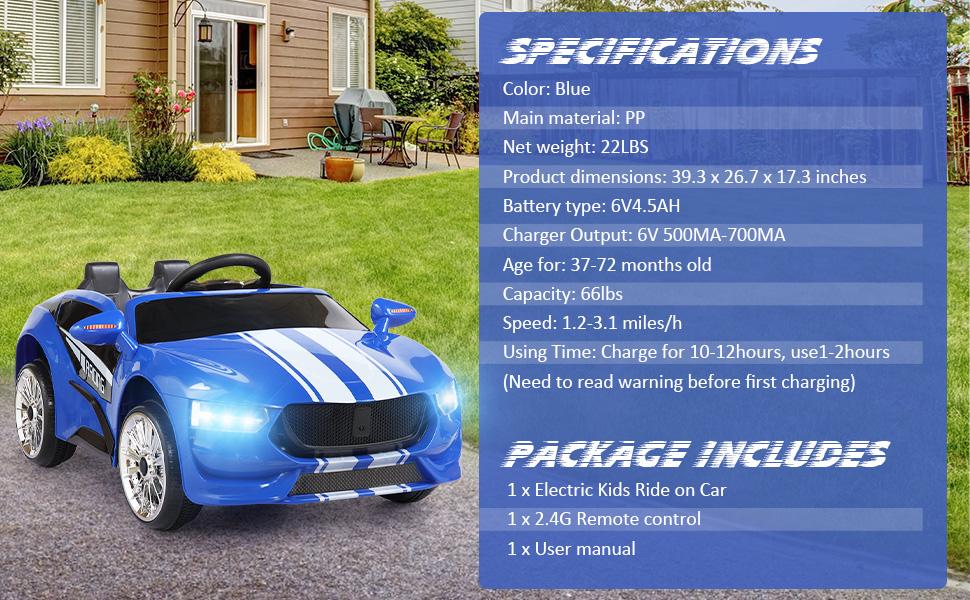 6V Kids Electric car 2 Seater w/ Remote Control ia 200000040