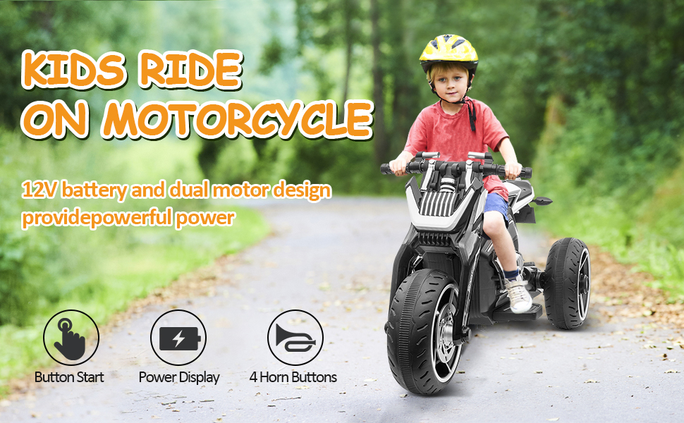 6V Battery Power Ride On Motorcycle for Kids, Black ia 2900000036