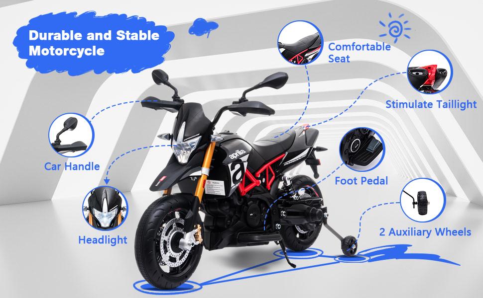 Aprilia Licensed 12V Kids Toy Motorcycle, Black ia 4600000040