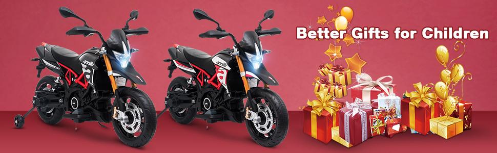 Aprilia Licensed 12V Kids Toy Motorcycle, Black ia 4600000046