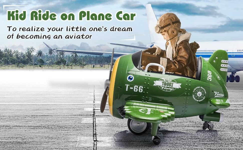 12V Kids Electric Toy Plane Car, Army Green ia 900000036