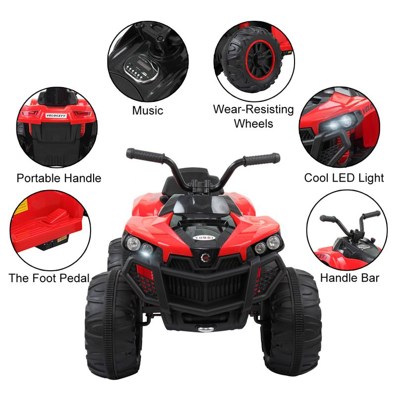 Battery Powered Ride On Kids ATV With Remote, Red kids ride on atv white 5 2