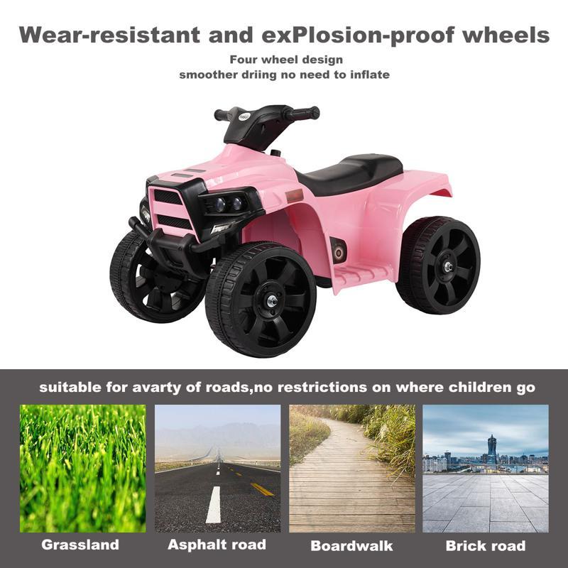 Four Wheeler Electirc Ride On Quad ATV For Kids, Pink kids ride on car atv 4 wheels battery powered pink 3 1