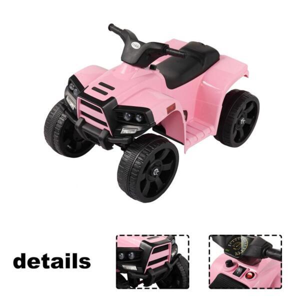 Four Wheeler Electirc Ride On Quad ATV For Kids, Pink kids ride on car atv 4 wheels battery powered pink 6