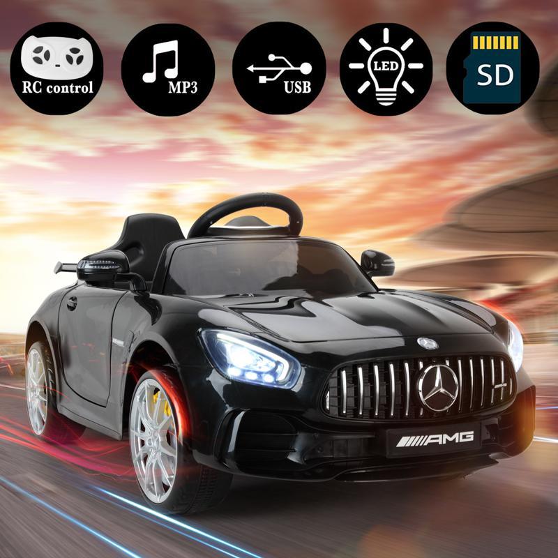 6V Licensed Mercedes Benz AMG GTR with Parental Remote Control, Black kids ride on car benz licensed amg gtr black 15 2