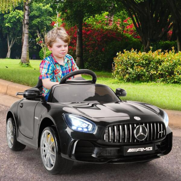 6V Licensed Mercedes Benz AMG GTR with Parental Remote Control, Black kids ride on car benz licensed amg gtr black 16