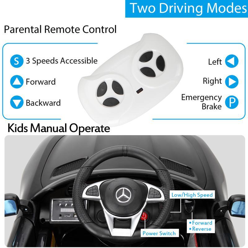 6V Licensed Mercedes Benz AMG GTR with Parental Remote Control, Black kids ride on car benz licensed amg gtr black 24 2