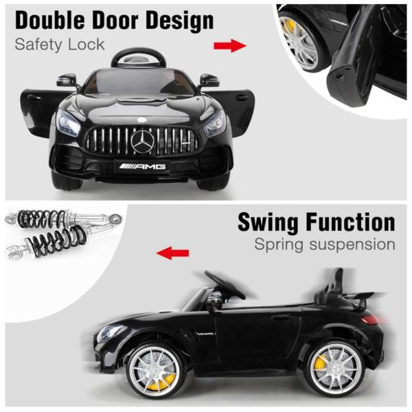 6V Licensed Mercedes Benz AMG GTR with Parental Remote Control, Black kids ride on car benz licensed amg gtr black 27 1