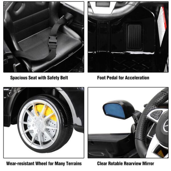 6V Licensed Mercedes Benz AMG GTR with Parental Remote Control, Black kids ride on car benz licensed amg gtr black 28 1