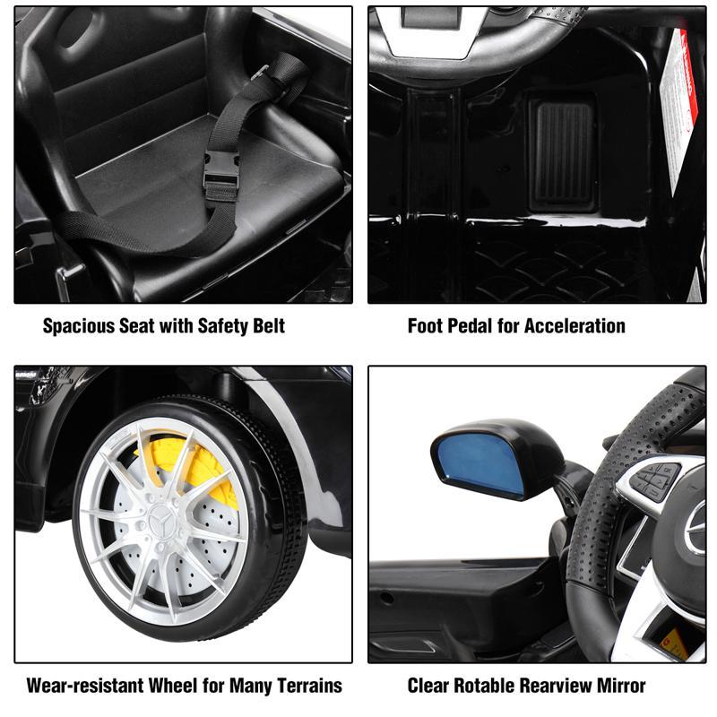 6V Licensed Mercedes Benz AMG GTR with Parental Remote Control, Black kids ride on car benz licensed amg gtr black 28 2