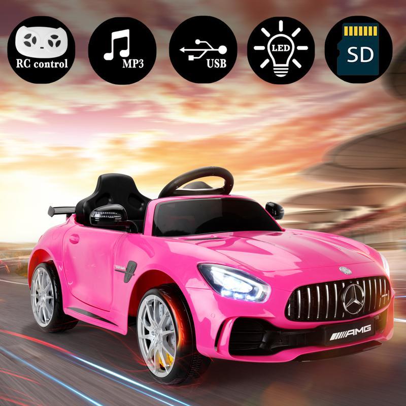 6V Licensed Mercedes Benz AMG GTR with Parental Remote Control, Pink kids ride on car benz licensed amg gtr pink 13 2