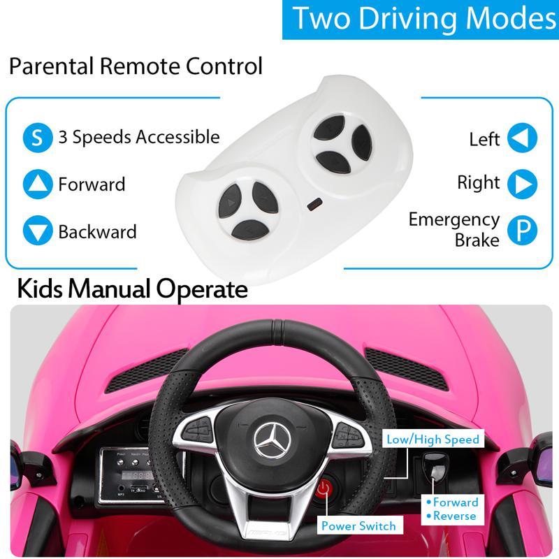 6V Licensed Mercedes Benz AMG GTR with Parental Remote Control, Pink kids ride on car benz licensed amg gtr pink 23 3