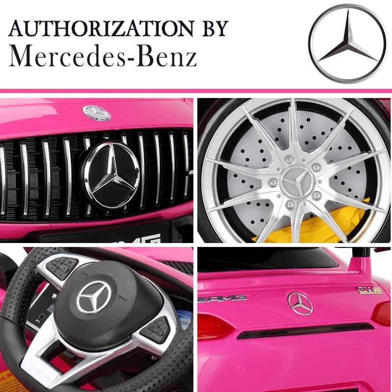 6V Licensed Mercedes Benz AMG GTR with Parental Remote Control, Pink kids ride on car benz licensed amg gtr pink 24 2