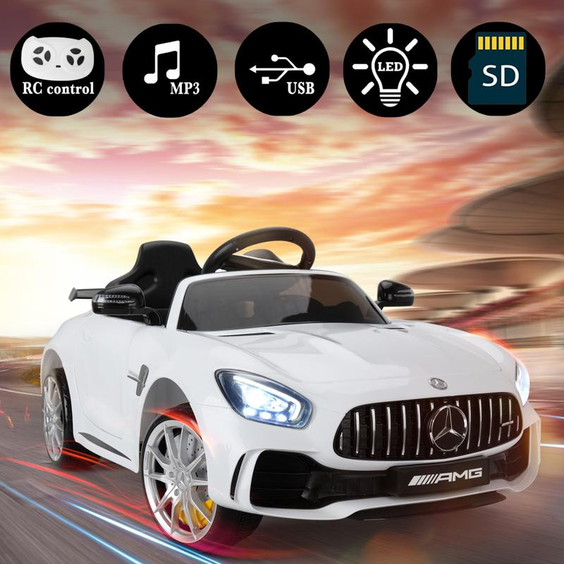 6V Licensed Mercedes Benz AMG GTR with Parental Remote Control, White kids ride on car benz licensed amg gtr white 18 2