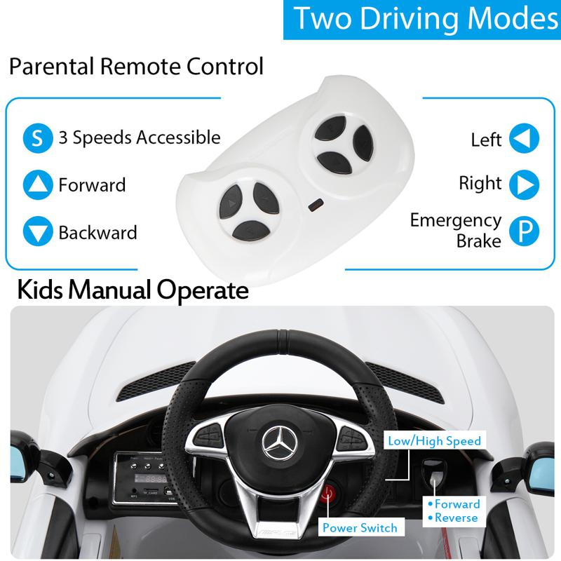 6V Licensed Mercedes Benz AMG GTR with Parental Remote Control, White kids ride on car benz licensed amg gtr white 27 2