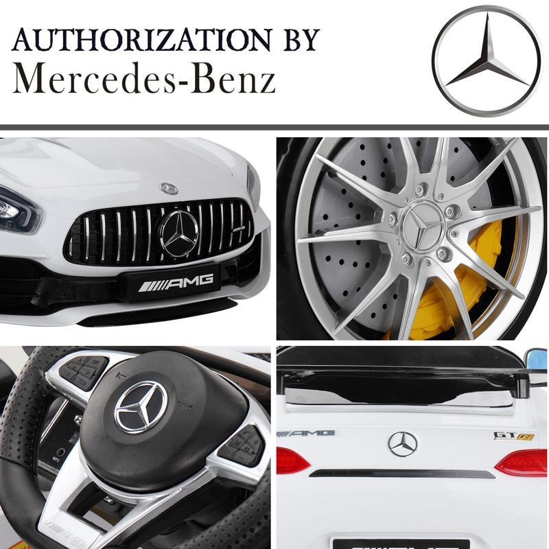 6V Licensed Mercedes Benz AMG GTR with Parental Remote Control, White kids ride on car benz licensed amg gtr white 28 2