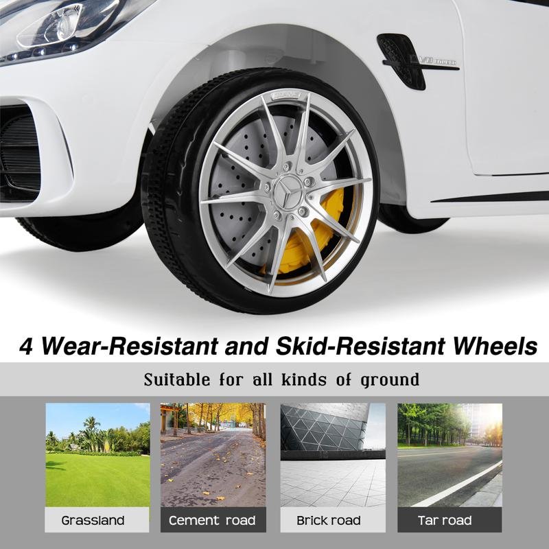 6V Licensed Mercedes Benz AMG GTR with Parental Remote Control, White kids ride on car benz licensed amg gtr white 29 2