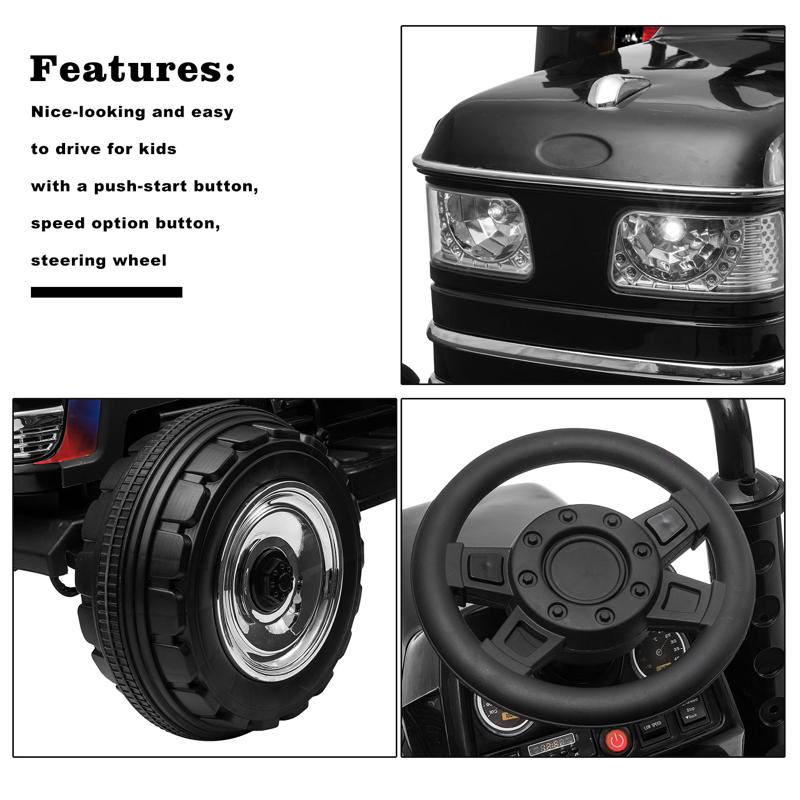 12V Kids Ride On Tractor with Remote Control for 3-6 Years, Black kids ride on tractor with remote control black 15 2