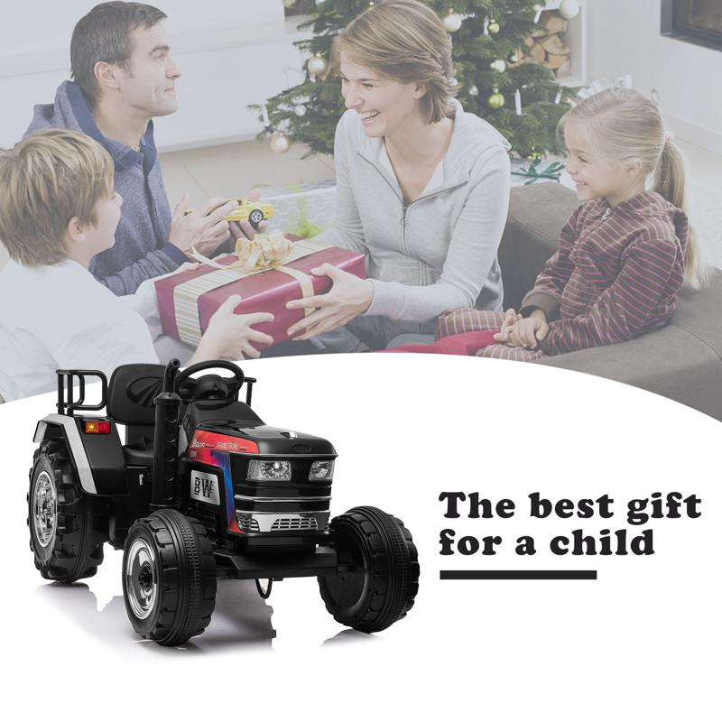 12V Kids Ride On Tractor with Remote Control for 3-6 Years, Black kids ride on tractor with remote control black 16 1
