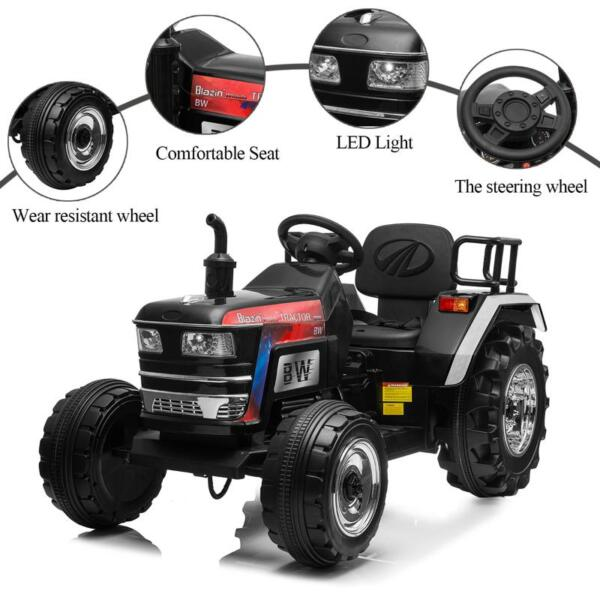 Kids Ride On Tractor with Remote Control, Black kids ride on tractor with remote control black 21 1