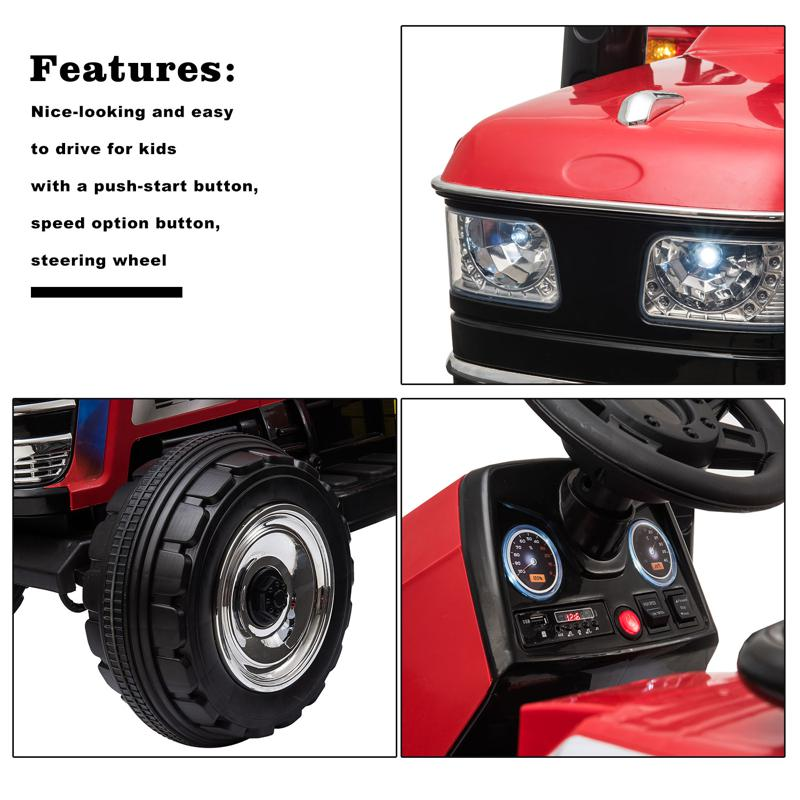 12V Kids Ride On Tractor with Remote Control for 3-6 Years, Red kids ride on tractor with remote control red 19